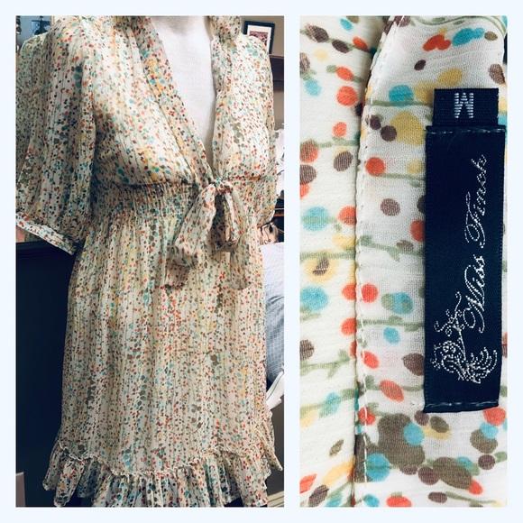 Retro Miss Finch Ruffled Sheer Splatter Dress M/L